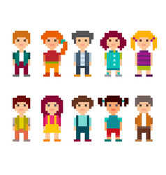 Set of different pixel art 8-bit people characters vector