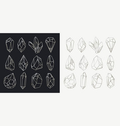 set of isolated hollow crystals mineral outlines vector image