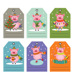 set of tags with christmas pig vector image