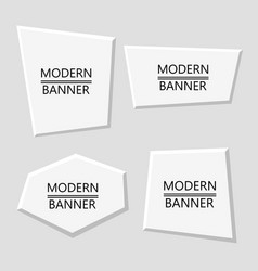 set of white plastic modern banners vector image