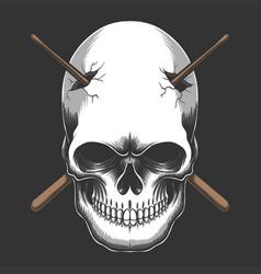 skull impaled stick drum vector image