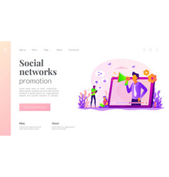 Social network promotion landing page template vector