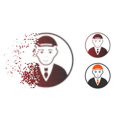 Sparkle pixelated halftone rounded man portrait vector