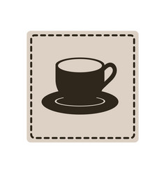sticker cup with plate icon vector image