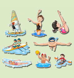 sticker set with men and women doing sports vector image