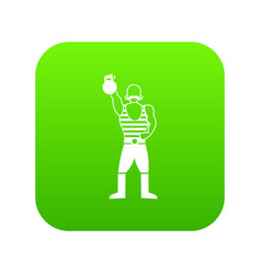 strong man with kettlebell icon digital green vector image