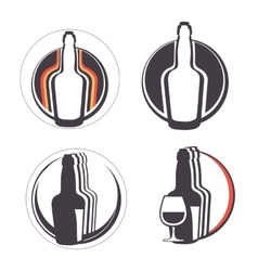 Stylish collection of alcohol emblems vector