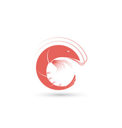 template of logo with shrimp vector image