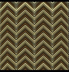 textured grid lattice zigzag gold 3d seamless vector image