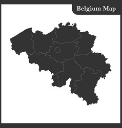 The detailed map of the belgium with regions vector