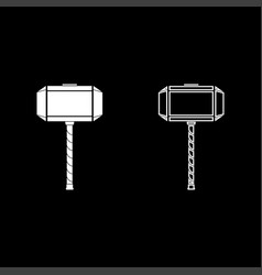 Thors hammer mjolnir icon set white color flat vector