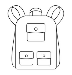 traditional backpack icon outline style vector image