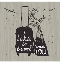 Travel inspiration quotes on suitcase vector