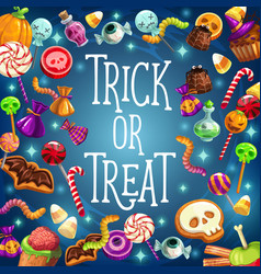 Trick and treat halloween holiday sweets vector