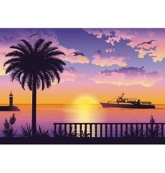Tropical sea landscape with palm and ship vector