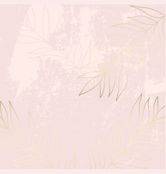 Tropical worn floral pastel pink blush gold vector