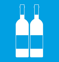 two bottles of wine icon white vector image