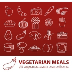 vegetarian meals outline icons vector image