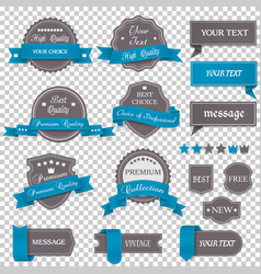 vintage labels and ribbons on transparent vector image