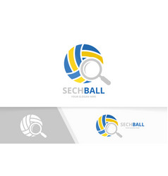 volleyball and loupe logo combination play vector image