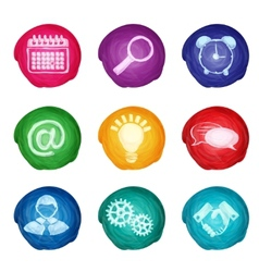 Watercolor business icons round vector
