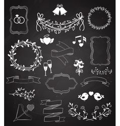 Wedding chalkboard Banners and Ribbons set vector