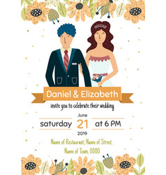 wedding invitation template with a happy bride and vector image