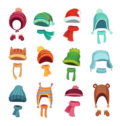 Winter kids hat warm childrens hats and scarves vector