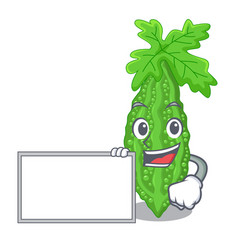 With board bitter melon isolated on a mascot vector