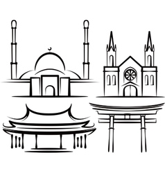 With places of worship vector