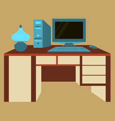 Workplace desk computer lamp top angle view flat vector