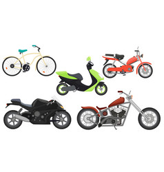 Classic color flat realistic motorcycle moped vector image vector image