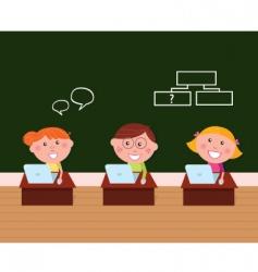 cute happy kids in classroom vector image vector image