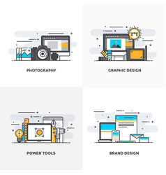 flat line designed concepts 3-colored vector image vector image