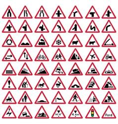 Road traffic warning signs vector image
