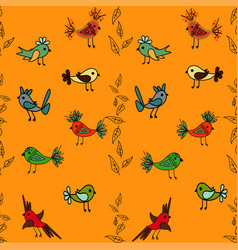 tree with cute colorful birds seamless pattern vector image vector image