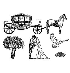 wedding set ink hand drawn vector image vector image