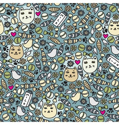 cats and birds wallpaper vector image