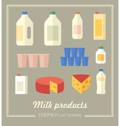 collection of dairy products vector image vector image