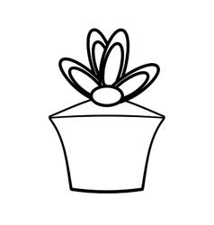Gift box birthday celebration outline vector