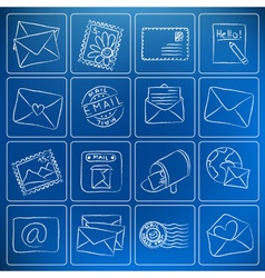 mail post icons chalky doodles vector image vector image