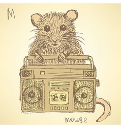 Sketch fancy mouse in vintage style vector image