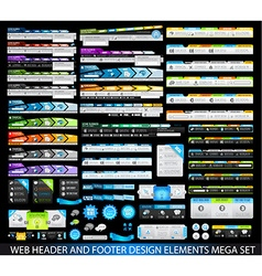 WebHeaders MegaSet black vector image vector image