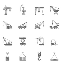 Building construction crane black icons set vector image vector image
