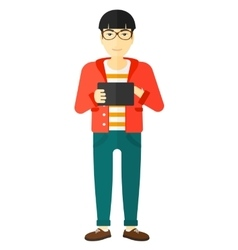 Man using tablet computer vector image vector image