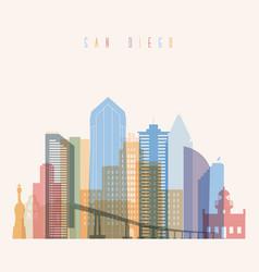san diego state california skyline detailed silhou vector image vector image