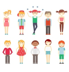 Small children in colorful clothes vector image