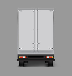 3d realistic cargo truck back view vector