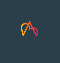 abstract geometric linear logo icon letter a and vector image