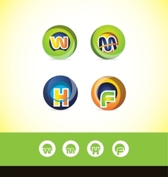 Alphabet letter sphere logo icon set vector image